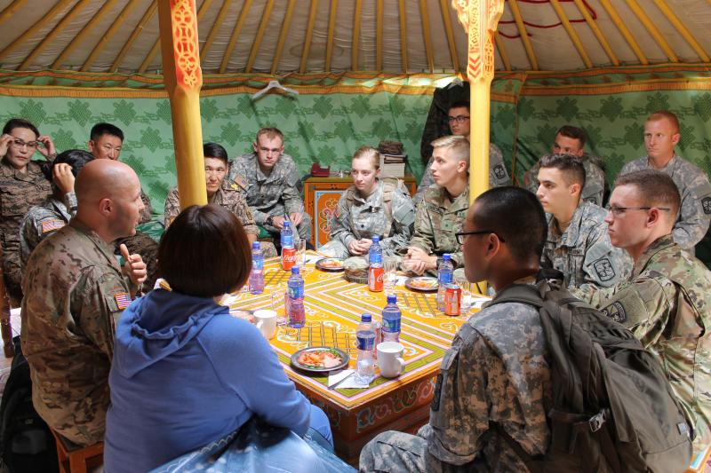 CWU Army ROTC detachment commander, Lt. Col. Jonathan Ackiss involved in leadership engagement activity in Mongolia