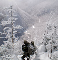 Soldier in mountains