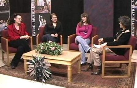 Terri Brown, Lauren Smith, and Amanda Carpp being interviewed.