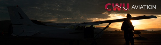 Doing an aircraft preflight during sunset