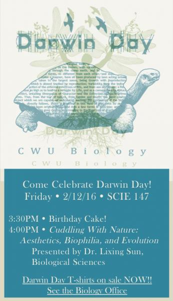 2016 Darwin Day Poster Turtle with Origin of Species Text in Shell