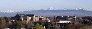Image of CWU Science Building with Mt. Stuart	in the background