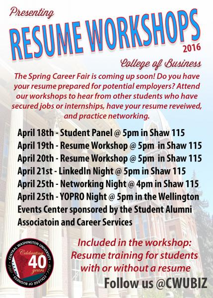 college of business resume workshops and networking nights