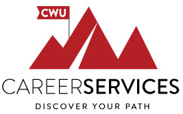 career services, discover your path, image of red mountains with a cwu flag and a white path to the top