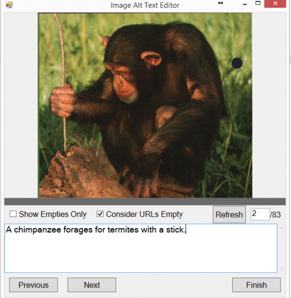 "CAR Checker dialogue window. Title: Image Alt Text Editor. Image is displayed in the upper half of the dialogue. The lower half is a text-editable area. The text area reads ""A chimpanzee forages for termites with a stick."""
