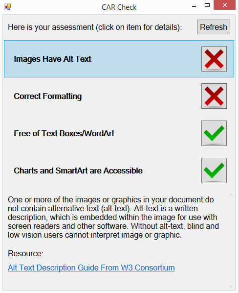 "CAR Checker dialogue window. Title: CAR Check. Text at the top reads ""Here is your assessment (click on the item for details):"". Four heading areas read ""1. Images have Alt Text. 2. Correct Formatting. 3. Free of Text Boxes/WordArt. 4. Charts and SmartArt are Accessible."" Beside each heading area is an icon of either a red 'x' or a green checkmark. Images Have Alt Text has focus. A dynamic text area below displays: ""One or more of the images or graphics in your document do not contain alternative text (alt-text). Alt-text is a written description, which is embedded within the image for use with screen readers and other software. Without alt-text, blind and low vision users cannot interpret image or graphic. Resource: (hyperlink text) 'Alt Text Description Guide From W3 Consortium'""."