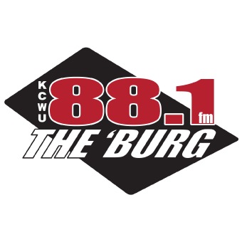 "KCWU's logo displays the acronym KCWU in vertical to the very left of the number 88.1 fm right above the nickname ""The 'Burg."""