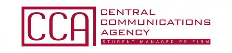 "The Central Communication Agency's 2018-2019 logo displays the acronym CCA within a red square, the agency's name, and the words ""Student Managed PR Frim."""