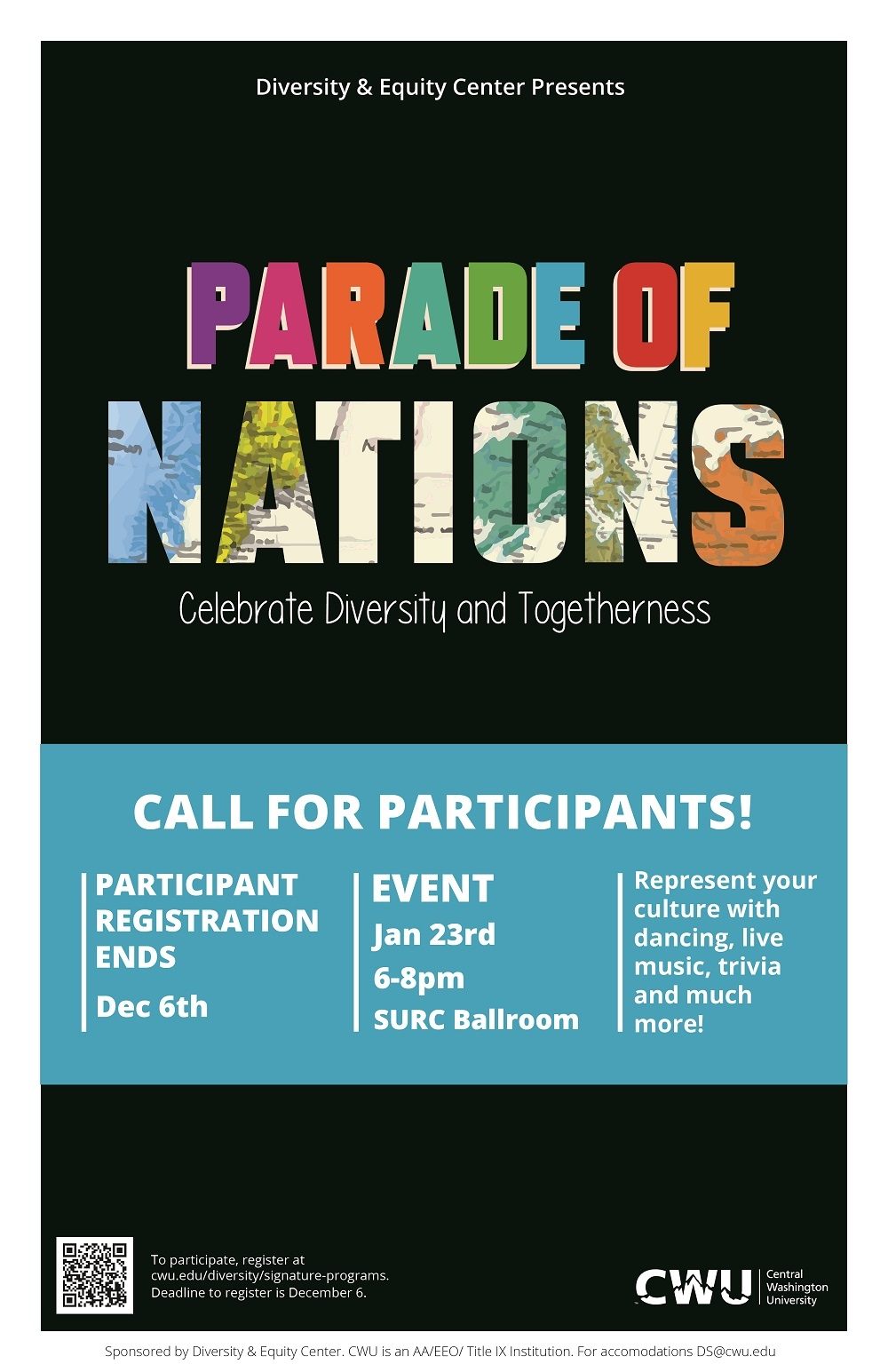 Parade of Nations call for participants poster. Participant registration ends December 6th. Represent your culture with dancing, live music, trivia, and much more!