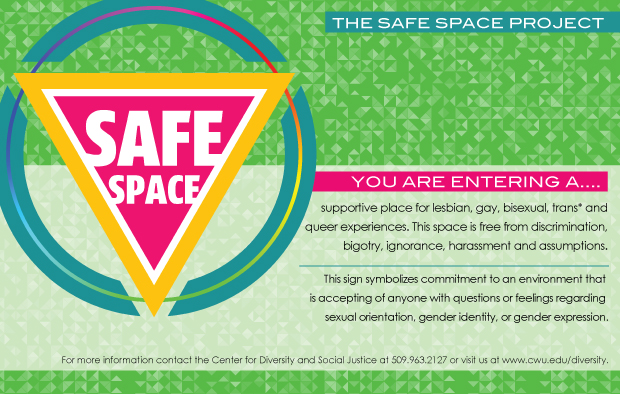 The Safe Space Project a welcoming and supportive environment where any person can enter and feel comfortable and safe to talk about issues related to the gay, lesbian, bisexual, transgender and ally population.  This environment is one of genuine acceptance and tolerance related to these issues.
