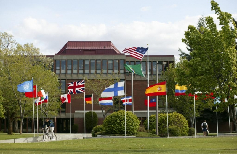 Picture of the CWU flag Pavillion displaying international flags.