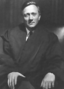 Black and white portrait of Justice Douglas