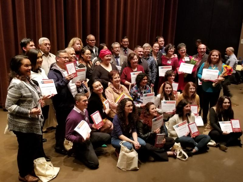 Winners and finalists of the Seattle Writes competition pose together for a picture