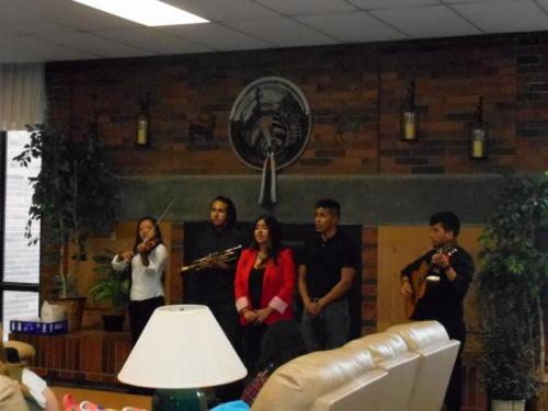 Spanish Students perform in their Marichi band for the World Languages Spring Celebration