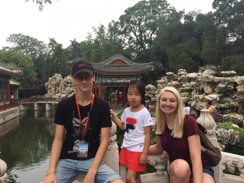 CWU students visit a temple in China