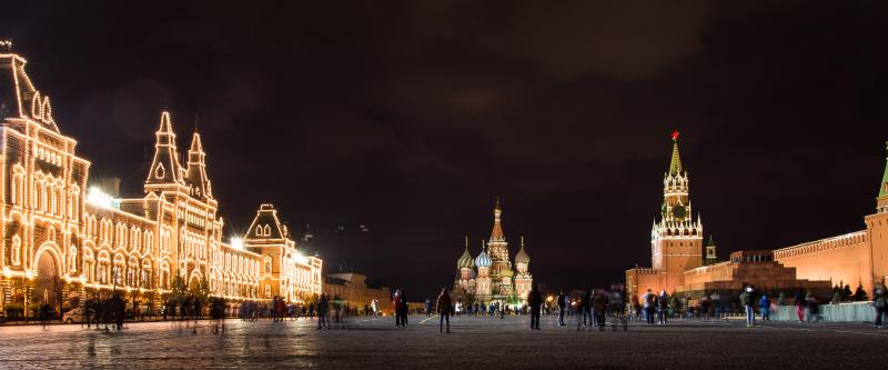 "Photo credit to Kuhnmi. ""Red Squre at Night"" Night shot of the famous Red Square in Moscow. The image shows the shopping mall ""GUM"" (left), the Saint Basil's Cathedral (center), and the Spasskaya Tower (right)."