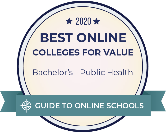 2020 Best Online Colleges for Value, Bachelor's - Public Health seal, Guide to Online Schools