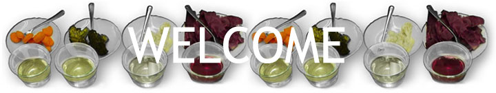 Welcome banner images of sample food and drinks