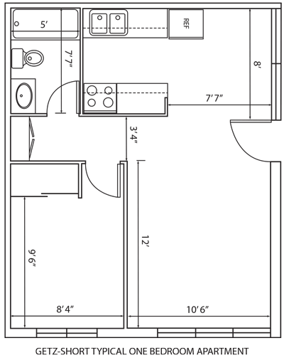 Getz-Short typical one bedroom apartment floor plan.