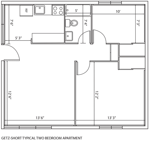 Getz-Short typical two bedroom apartment floor plan.