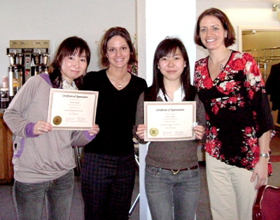 International students with their certificates