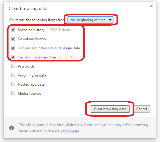 how to delete history cache and cookies