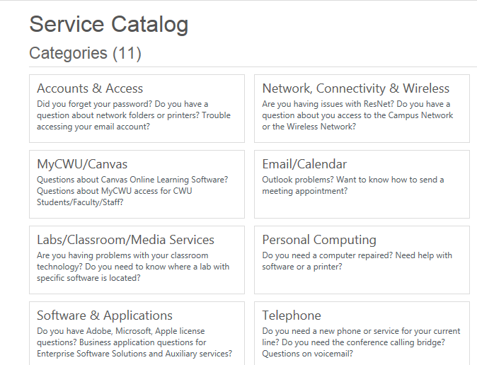 Cwu service desk how to request service through the for It service catalogue template