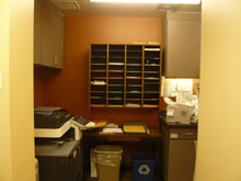 Back office: mailboxes, copier, and work space