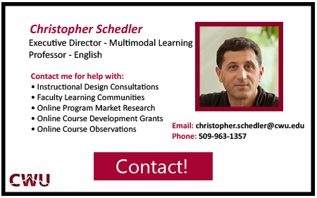 Executive Director of Multimodal Learning, Chris Schedler. Contact at 5 0 9 9 6 3 1 3 5 7