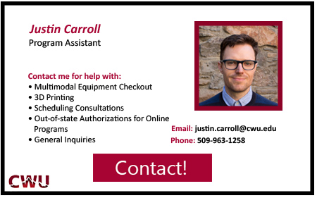 Justin Carroll, Program Assistant. Contact at 5 0 9 9 6 3 1 2 5 8