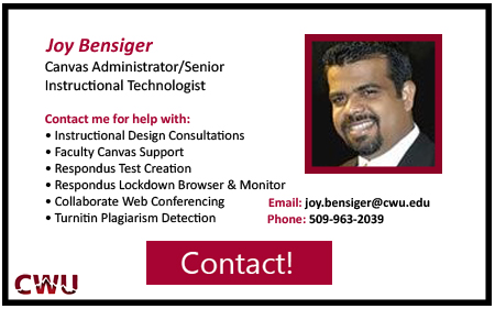 Canvas Administrator, Joy Bensiger Contact at 5 0 9 9 6 3 2 0 3 9