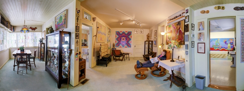 Panoramic shot of Jane Orleman's living room