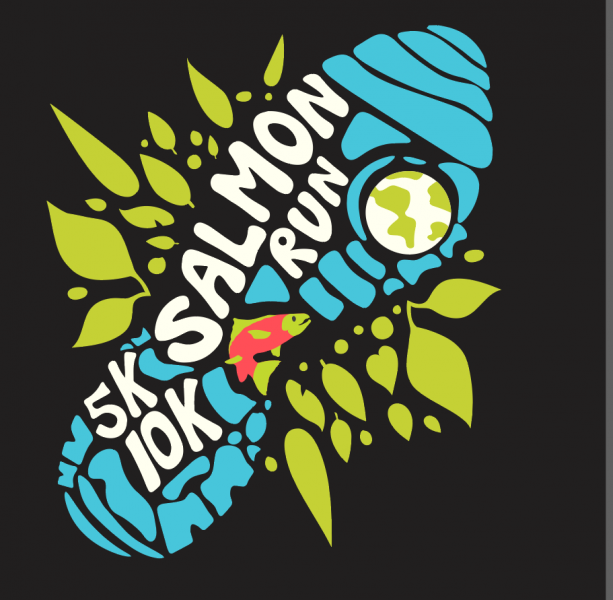 Salmon Run logo - foot print with fish and planet inside