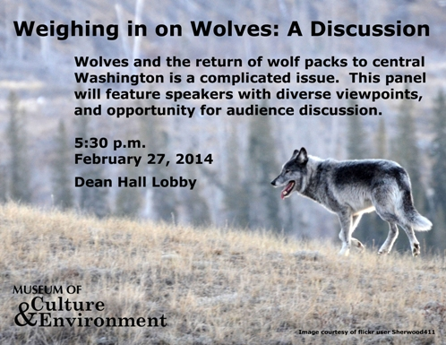 Image of a wolf on a hill with informative text superimposed