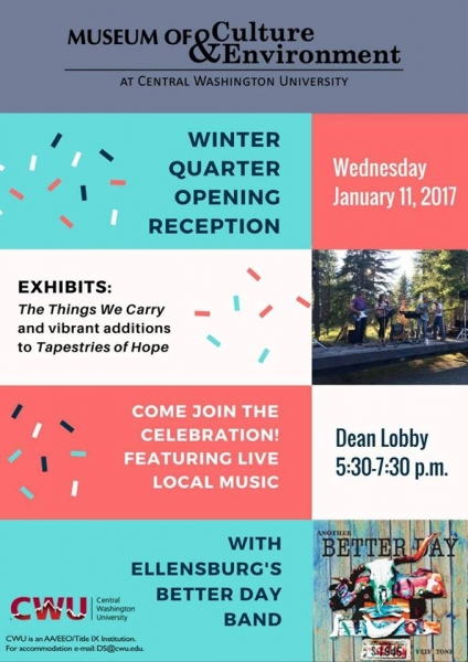 MCE Winter Quarter Opening reception, Wednesday, January 11 at 5:30 p.m. Music by Better Day