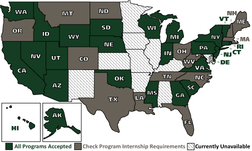 The following states have internship restrictions: Colorado, Florida, Maine, Massachusetts, Montana, New Hampshire, North Carolina, North Dakota, Ohio, Oregon, Tennessee, and West Virginia