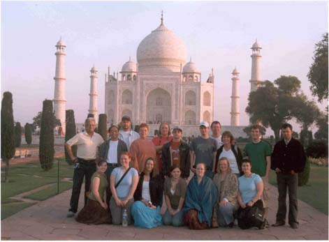 Study abroad group standing in front of the Taj Mahal
