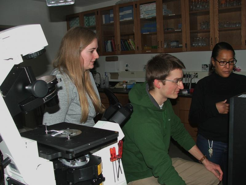 Students working in the biophysics laboratory at the University of Wisconsin-La Crosse.