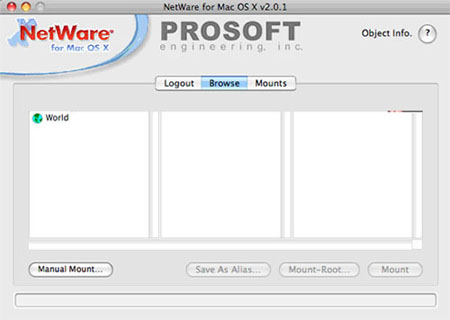 Screenshot of  NetWare file browser.