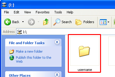 Screenshot of click on 'username' folder in I: drive folder
