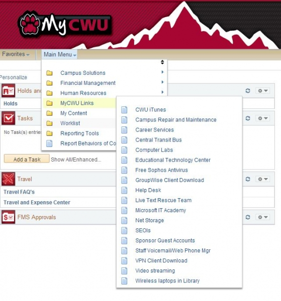 Image showing the steps to accessing the SEOI link in MyCWU