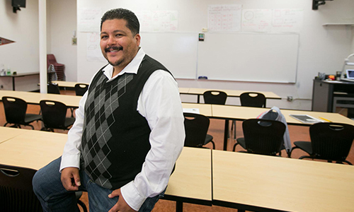 Ramon Cardenas, director of the HEP program at Central Washington University, poses for a portrait in a classroom in Yakima on May 14. Amanda Ray, Yakima Herald-Republic