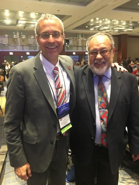 Left to right: Aaron Brown, CWU associate dean for Student Development and Achievement, and Arteaga at the Council for Opportunity in Education 38th annual conference in Chicago.