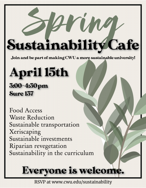 Poster announcing Spring Sustainability Cafe date and location