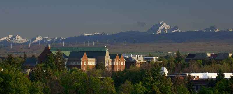 CWU's Science I Building.  Mt. Stuart and wind turbines can be seen in the background.